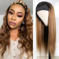 Ombre Honey Blonde Human Hair Wig 150% Density Headband Straight Glueless Wigs for Women