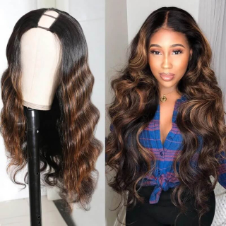 Body Wave U Part Wigs 2×4 Inch U Part Dark Aubrun Ombre Color Human Hair Wigs 150% Density