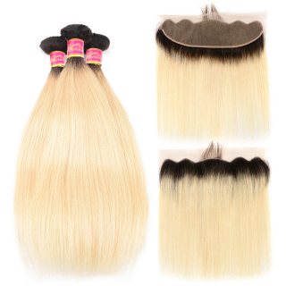 Ombre Color Hair 1B/613 Straight Human Hair 4 Bundles With 13x4 Lace Frontal