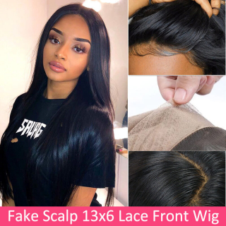 Straight Hair Fake Scalp Cap 13x6 Lace Front Wig Natural Hairline Human Hair Wigs Deals