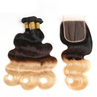 Brazilian Ombre Body Wave Hair 3 Bundles With Lace Frontal Closure Virgin Hair Weft
