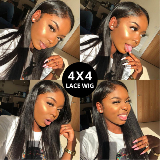 Cheap Human Straight Hair 4x4 Lace Closure Wig Virgin Hair Pre Plucked Lace Front Wig Natural Hairline