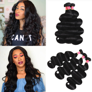 Body Wave Virgin Hair Natural Black Human Hair Extensions 3 Pieces