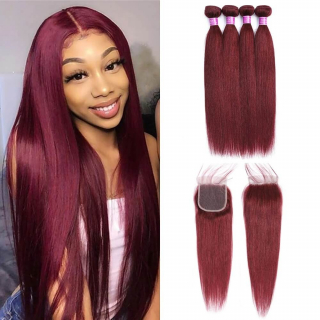 99J Colored Straight Human Hair Bundles With 4x4 Lace Closure Burgundy Color Human Hair Weaves