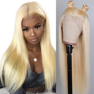 Pre Bleached Knots Pure 613 Blonde 360 Lace Frontal Wig 180 And 150 Density Straight Hair Wig With Baby Hair
