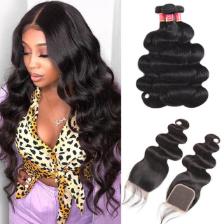 Body Wave Virgin Hair 4pcs/pack With 4x4 Pre Plucked Lace Closure Deal Online