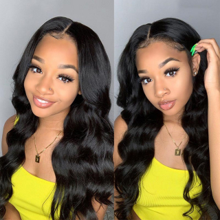 Human Virgin Hair Body Wave 6x6 Lace Closure Wig 150%-180% Density Pre Plucked Wig