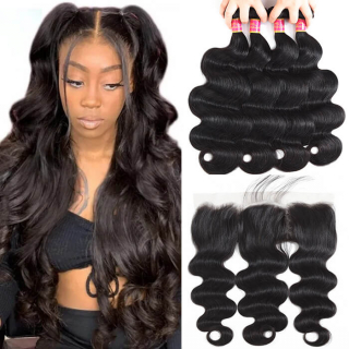 Brazilian Body Wave 3 Bundles With 13*4 Lace Frontal Closure 100% Human Hair Weft