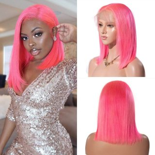 Summer Colored Bob Wigs 8-14 Inch Pink Lace Front Wigs