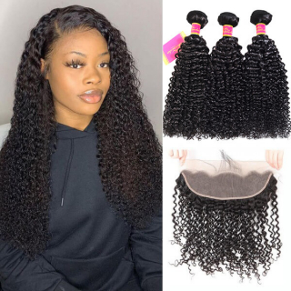 Unprocessed Brazilian Hair 3pcs Kinky Curly Human Hair Bundles with Lace Frontal
