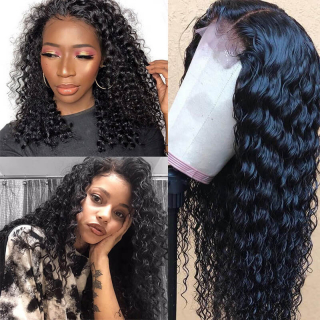 150% and 180% Density Pre Plucked Deep Wave 360 Full Lace Wig Human Hair Lace Wig Natural Baby Hair Sale Online