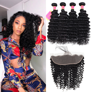 Deep Wave Virgin Hair Weave 4 Bundles With 13x4 Lace Frontal Closure Human Hair Weft
