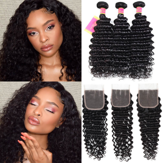 3pcs/Lot Deep Wave Hair Bundles Weave With 4x4 Lace Closure Virgin Hair Weft