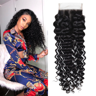 Cheap 4x4 Deep Wave Lace Closure With Baby Hair Non Remy Middle Free Part Closure