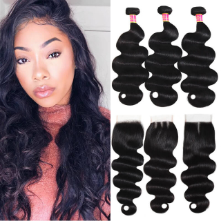 7A Grade Virgin Human Body Wave Hair 3 Bundles With 4x4 Lace Closure With Free Part