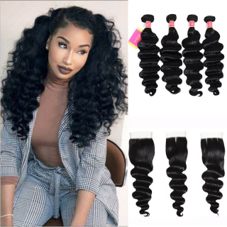 Loose Deep Wave Weave 4 Hair Bundles With 4x4 Closure