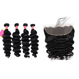 Loose Deep Wave Virgin Hair Weave 4 Bundles With 13x4 Ear To Ear Lace Closure
