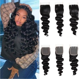 Virgin Loose Deep Wave 4x4 Lace Closure Swiss Lace
