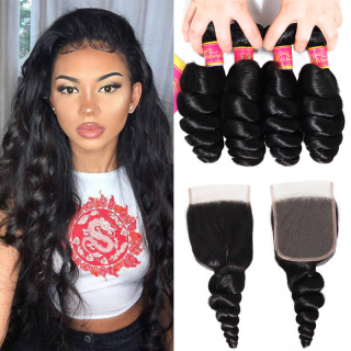 Brazilian Loose Wave Human Hair 4 Bundles with Lace Closure Pre Plucked Natural Hairline