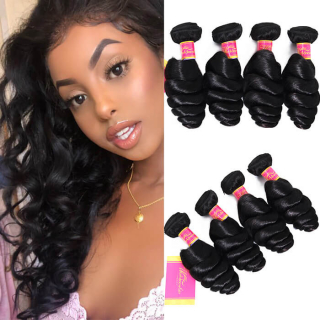 Malaysian Loose Wave Hair 4 Bundles 100% Human Virgin Hair Weave