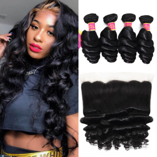 Top Selling Loose Wave 4pcs With 13x4 Lace Frontal Closure Loose Wave Human Hair Bundles
