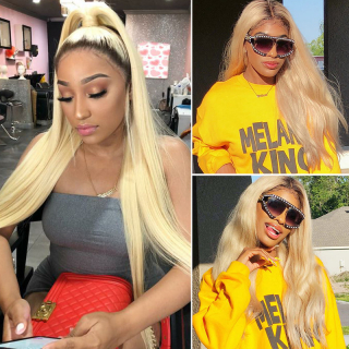 Ombre Blonde Color Straight Human Hair Lace Wig 1B613 Lace Front Wig Pre Plucked Natural Hairline