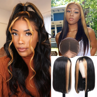 Ombre Color Highlight Lace Front Wig With Baby Hair High Density Ombre Human Hair Wig