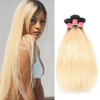 #1B/613 Brazilian Virgin Hair Straight 3 Bundles Ombre Human Hair Weave