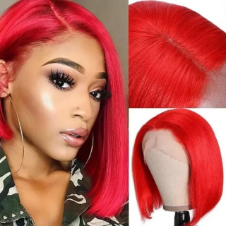 Red Orange Short Lace Front Human Hair Wigs 13x4 Straight Bob Wig Pre-Plucked with Baby Hair