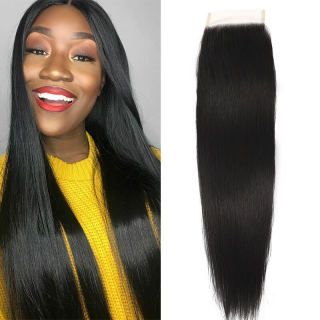 Straight 4x4 Lace Closure Natural Color Non Remy Straight Frontal Closure Free Part