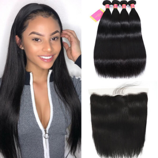 worldnewhair straight hair bundles with lace frontal