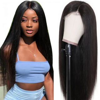 WorldNewHair Best Straight Hair 13x4 Lace Front Closure Wig Natural Black Long Straight Hair Lace Frontal Wig