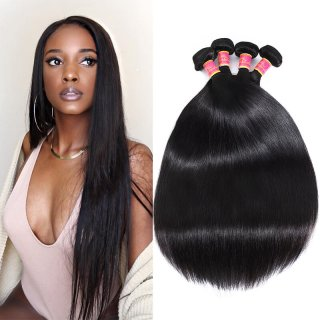 Cheap 7A Unprocessed Virgin Straight Hair 4Bundles Straight Hair Weave Sew In