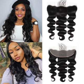 "Transparent Body Wave 13x4""Lace Frontal Closure With Natural Hairline"