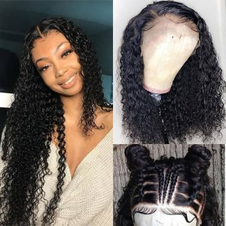 Deep Curly Human Hair Lace Front Wigs Pre Plucked Natural Hairline Virgin Curly Hair Wig