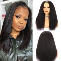 U Part Wig Kinky Straight Human Hair Wig Natural Color 150% Density