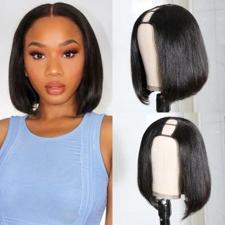 U Part Wig Stragith Human Hair Bob Wig 2x4 Opening Size Short Bob Wig For Black Women