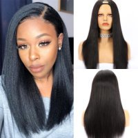 Affordable Yaki Straight Human Hair U Part Wig Natural Color 150% Density