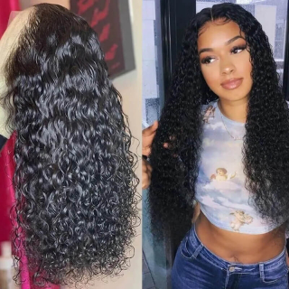 Water Wave 360 Lace Frontal Wigs 150% and 180% Density Water Wave 360 Lace Front Human Hair Wigs