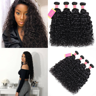 Best Brazilian Water Wave Hair Weave 4 Bundles Human Hair Weft Deal Online