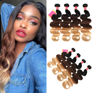 WorldNewHair 7A Brazilian Human Virgin Ombre Body Wave Hair 4 Bundles