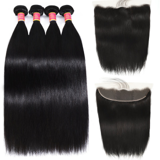 3 Bundles Straight Hair With 13x4 Ear To Ear Pre Plucked Free Part Lace Frontal