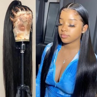 Straight Hair HD Lace Front Wig Pre Plucked Human Hair Wig Natural Hairline