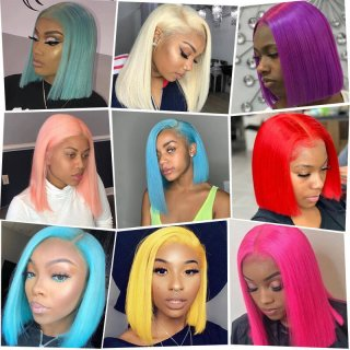 Colorful 13x4 Lace Front Short Bob Wigs 100% Human Hair Wigs Pre Plucked