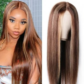 Straight Honey Blond Ombre Color Highlight Lace Front Wig Invisible Pre Plucked Human Hair Wig