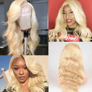 Human Hair Wigs #613 Blonde Color Body Wave Full Lace Virgin Hair Wig 150% and 180% Density