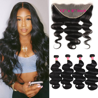Unprocessed	Ear To Ear 13x6 Lace Frontal With 4pcs Body Wave Virgin Hair Bundles