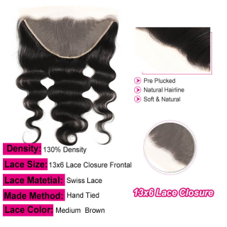 Virgin Hair Body Wave 13x6 Lace Frontal Closure Bleached Knots Closure Frontal