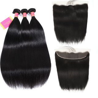 Straight 3pcs Hair Weave Bundles With Closure 13x4 Lace Frontal With Bundles