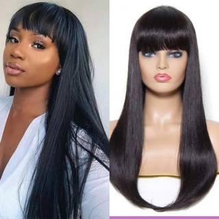 Cheap Silky Straight Lace Wigs With Bangs 100% Human Hair Wigs With Bangs For Black Women